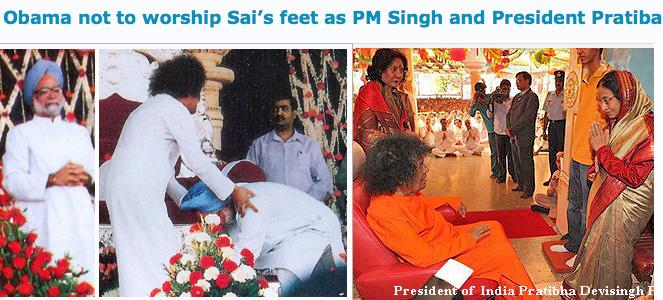 Prime Minister Manmohan Singh, President Pratibha Patil worshipping Sathya Sai Baba